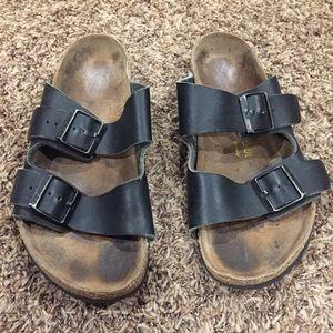Birkenstock slip on leather strap sandals 39